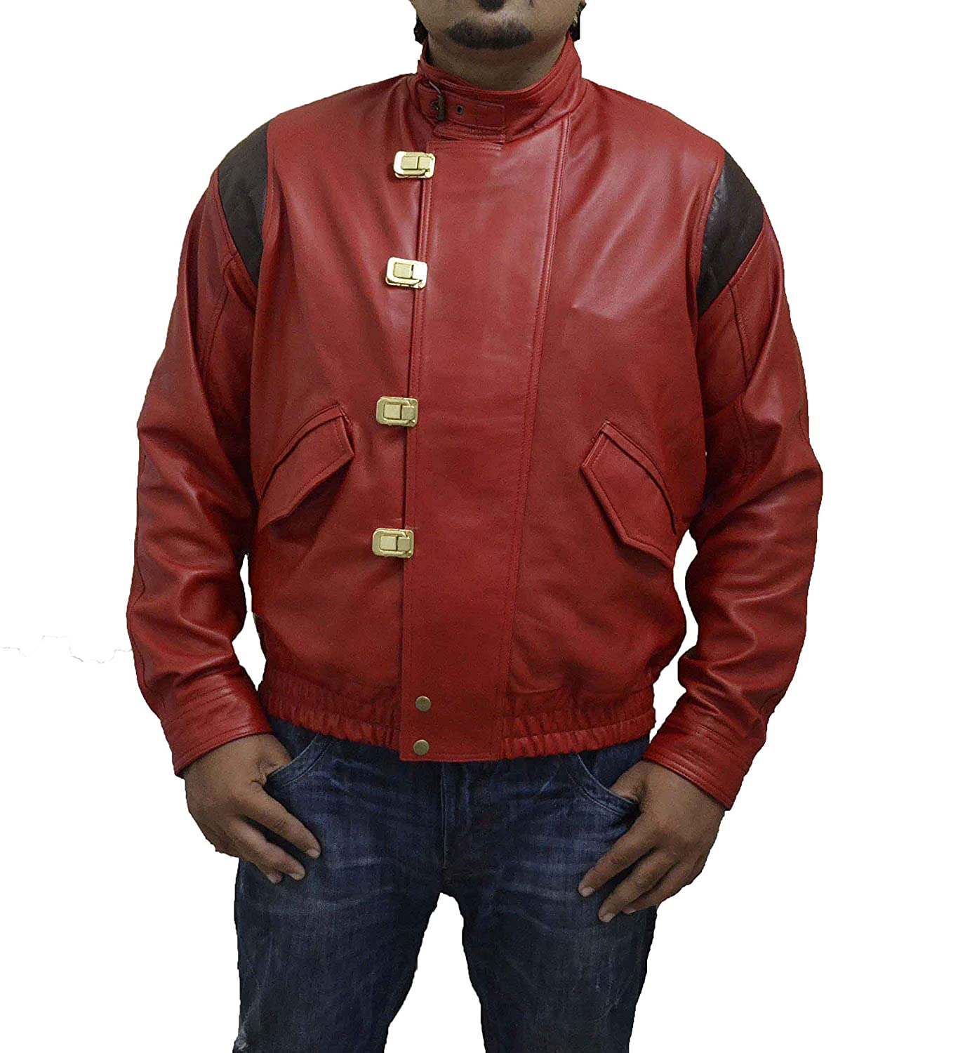 REAL RED AKIRA KANEDA CLASSIC VINTAGE BIKER SHEEP LEATHER JACKET WITHOUT CAPSULE & TEXT