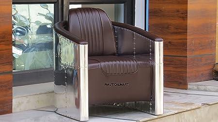 Nauticalmart in alluminio con seduta in pelle marrone scuro