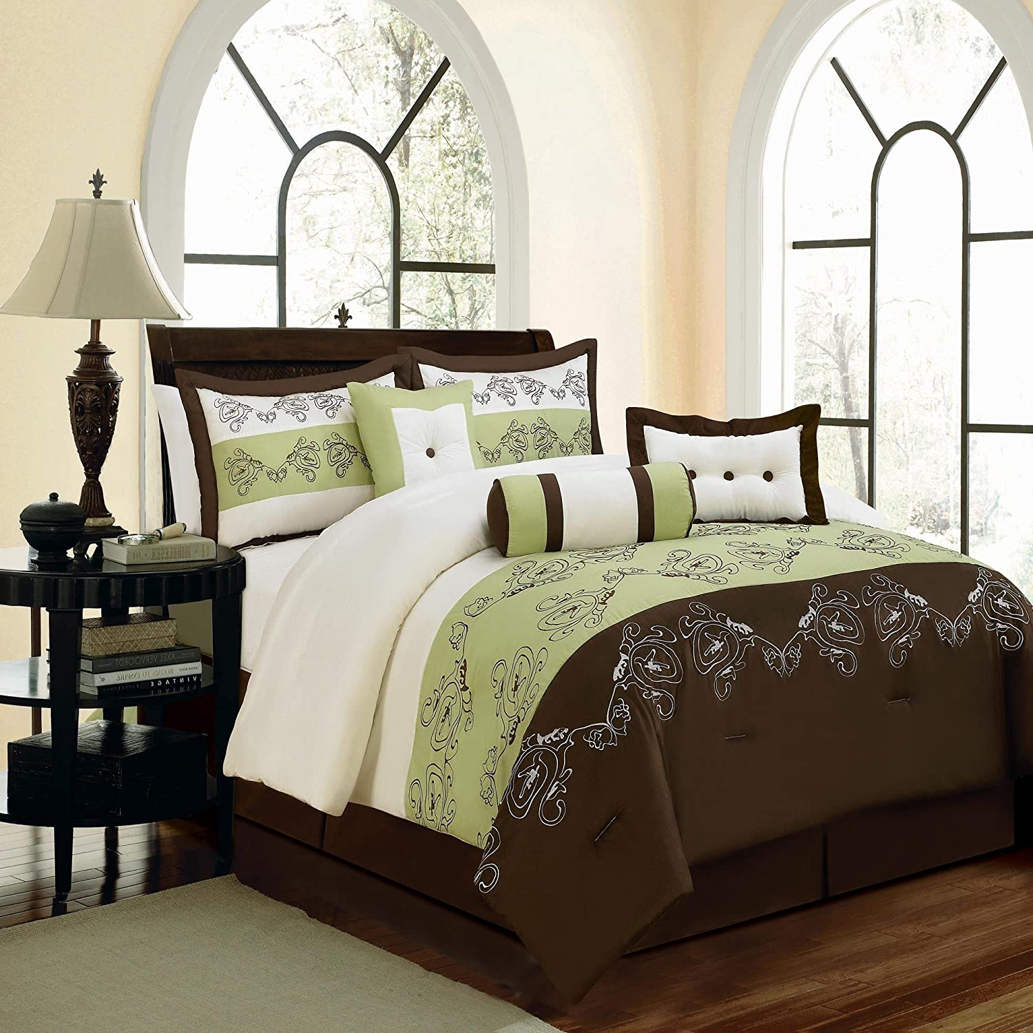 Green and brown bedding - Brown and green bedroom ...