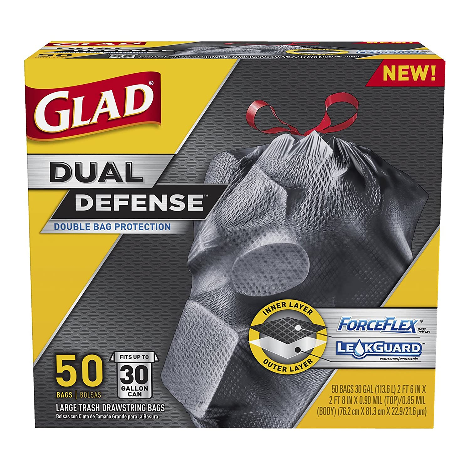 Glad Dual Defense Drawstring Large Trash Bags, 30 Gallon, 50 Count(Product May Vary)