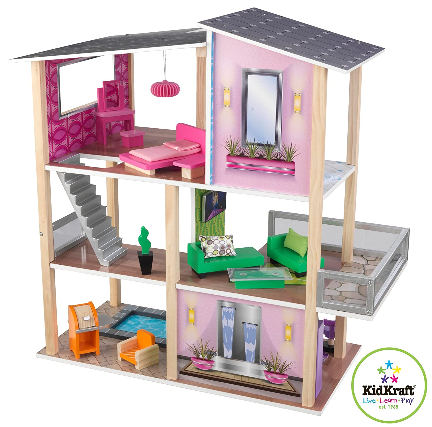Large Girls Modern Dollhouse 20 Piece Furniture Set Wooden Doll House Toy Condo Ebay