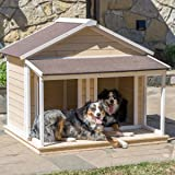 Antique Large Dog House W Roof Solid Wood Penthouse Kennels Crates Duplex 51x43x43 W Balcony & Ez Entrance for Two Dogs. For Outdoor Dog Bed Has a Raised Bottom and Natural Insulation. White Wash (Color: white)