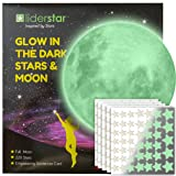 LIDERSTAR Glow in The Dark Stars and Free Removable Full Moon Wall Stickers 220 Adhesive Glowing Star Beautiful Wall Decals for Bedroom. for Room,Light Your Ceiling, Bonus Affirmation Card for Kids (Color: White)