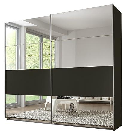 Wimex 495794 Schwebeturenschrank 225 x 210 x 65 cm, Felder variabel positionierbar, Spiegel, lavafarbig