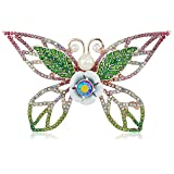 Betsey Johnson Colorful Tonal Butterfly Brooaches and Pins, Pink/Green, One Size