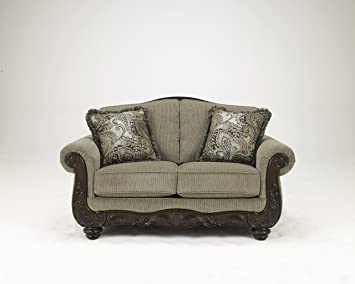 Martinsburg Brown Traditional Classics Wood and Fabric Loveseat