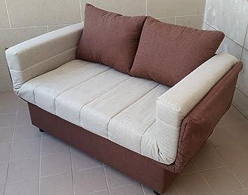 Divano letto prontoletto, pratico e funzionale, rivestimento in bicolore in tessuto con cassettone portaoggetti braccioli reclinabili