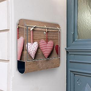Design Briefkasten Edelstahl Briefkästen 38x42x11 von banjado mit Motiv Herzen   Kundenberichte und weitere Informationen