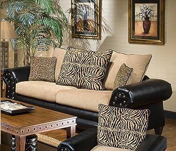 Chelsea Home Furniture Zoie Sofa, Upholstered in Denver Black/Delray Camel/Tiger Gold/Leopard Gold
