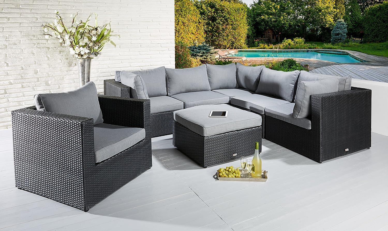 Poly Rattan Loungegarnitur Sitzgruppe Josy schwarz mit Sessel und Hocker kaufen