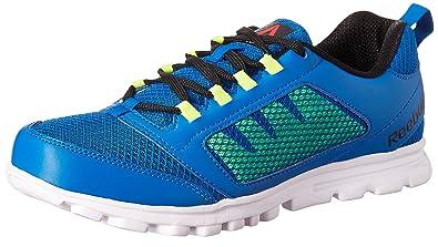 Reebok Men's Run Stormer Blue, Neon Yellow, Black and White Running Shoes 10