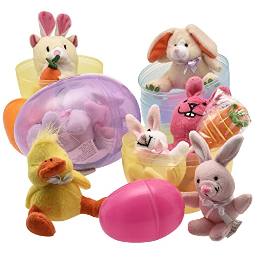 Jumbo 6 Easter Eggs Filled with Plush Easter Bunnys Ducks and Hamsters (pack of 3 Jumbo Eggs Per Order)