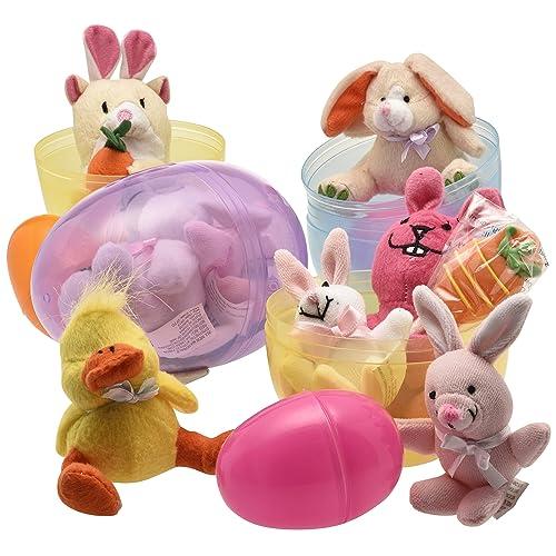 Jumbo 6 Easter Eggs Filled with Plush Easter Bunnys Ducks and Hamsters (pack of 3 Jumbo Eggs Per Order)