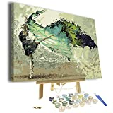 Paint by Numbers for Adults - Framed Canvas and Wooden Easel Stand - DIY Full Set of Assorted Color Oil Painting Kit and Brush Accessories - Soul Dancer 12