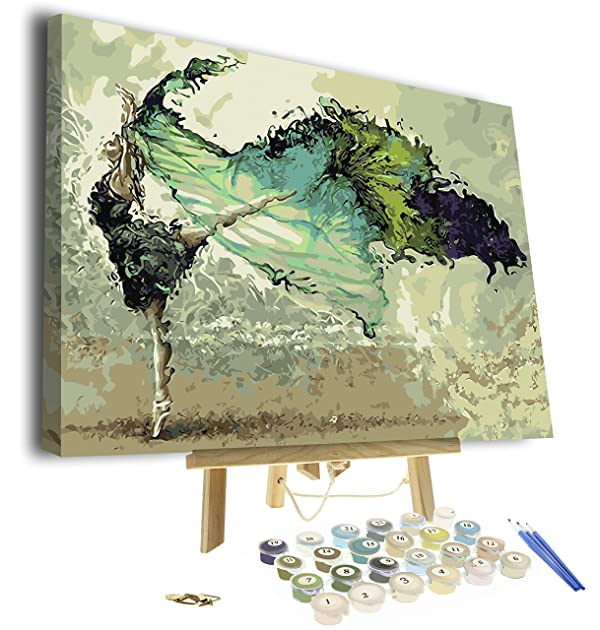 Paint by Numbers for Adults - Framed Canvas and Wooden Easel Stand - DIY Full Set of Assorted Color Oil Painting Kit and Brush Accessories - Soul Dancer 12x16 Replica (Soul Dancer) (Tamaño: Soul Dancer)