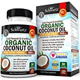 Organic Coconut Oil 2000mg. Highest Grade Extra Virgin Coconut Oil for Skin, Healthy Weight Loss, Hair Growth. Cold Pressed & Non-GMO Coconut Oil Capsules. Unrefined Coconut Oil Rich in MCFA and MCT