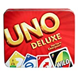 Mattel UNO Deluxe Card Game Tin (Color: Multi-colored, Tamaño: Basic pack)