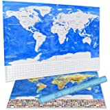 Scratch Off World Map Deluxe Travelers Wall Poster with US States and Country Flags, Track Your Adventures. Includes Scratch tool and Memory Stickers, Perfect Gift. 32.1 x 22.6 inches. (Blue) (Color: Blue, Tamaño: 32.1 x 22.6 Inches)