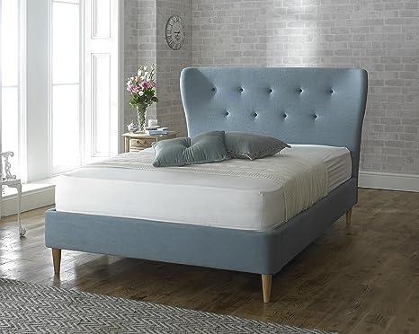 Aurora Urban Chic en tissu 5m lit King Size–Bleu–ailé–Tête de lit