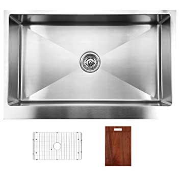 Ukinox RSFS840.GC Modern Apron Front Single Bowl Stainless Steel Kitchen Sink with Bottom Grid & Cutting Board