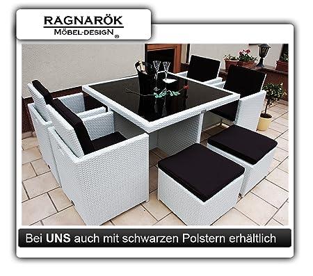 Gartenmöbel PolyRattan Essgruppe Tisch mit 4 x Stuhl & 4 Hocker DEUTSCHE MARKE -- EIGNENE PRODUKTION Garten Möbel incl. Glas und Sitzkissen Ragnarök-Möbeldesign