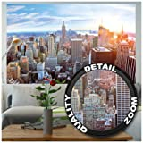 Poster - New York City Skyline - Wall Picture Decoration Sundown Penthouse View Manhattan America USA Decor Big Apple NYC Wallposter Photoposter (55 Inch x 39.4 Inch/140 cm x 100 cm) (Color: 33 - New York Penthouse, Tamaño: 55 x 39.4 Inch - 1 Piece)