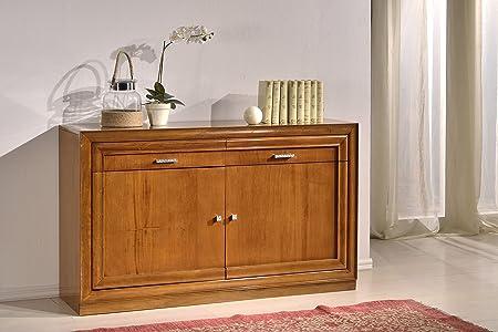 Credenza in legno finitura noce chiaro, con 2 ante e 2 cassetti 150x90