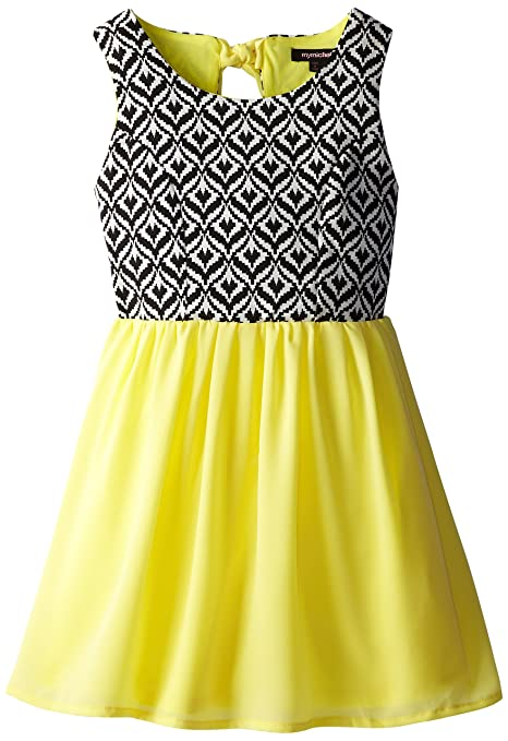 My-Michelle-Big-Girls-Sleveless-Dress-with-Aztec-Print-Bodice-and-Skirt