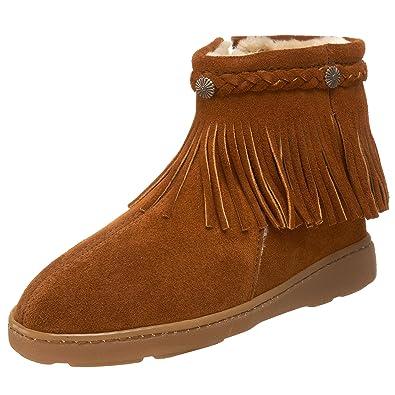 MINNETONKA/迷你唐卡Fringe Ankle平跟毛毛靴流苏短靴裸靴 .95 - 第1张  | 淘她喜欢