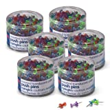 Officemate Push Pins Translucent Assorted Colors, 200 Count, 6 Tubs of 200 (35760) (Color: Assorted Colors, Tamaño: 1200 Count)