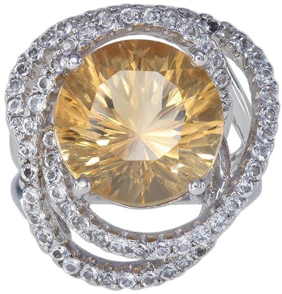 Citrine 7.30 carat White Topaz Gemstone Sterling Silver Ring size L