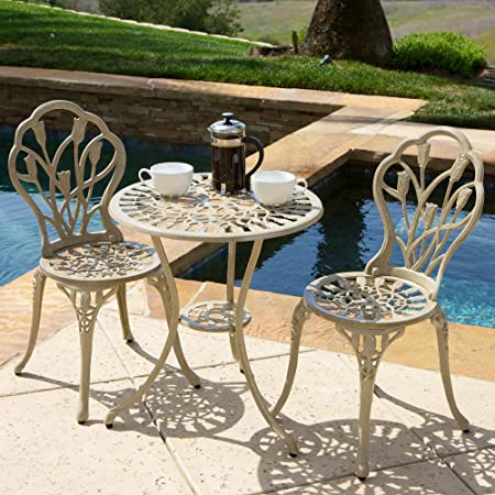 Home Loft Concept Caicos Sand 3 Piece Chairs & Table Patio Furniture Bistro Set, Seats 2