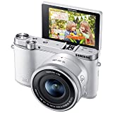 Samsung NX3000 Wireless Smart 20.3MP Mirrorless Digital Camera with 16-50mm OIS Power Zoom Lens and Flash (White) (Color: White, Tamaño: compact)