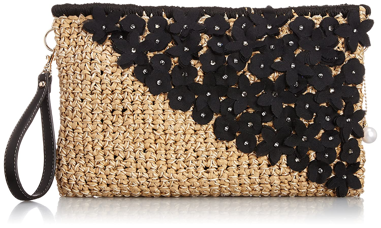 Amazon.co.jp: [カカトゥ] kakatoo フラワーモチーフ付クラッチ 07-00-07960 BK (ブラック): シューズ&バッグ:通販