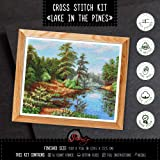 Lake in The Pines - Counted Cross Stitch Kit with Forest Landscape Pattern (Color: Lake in the Pines)