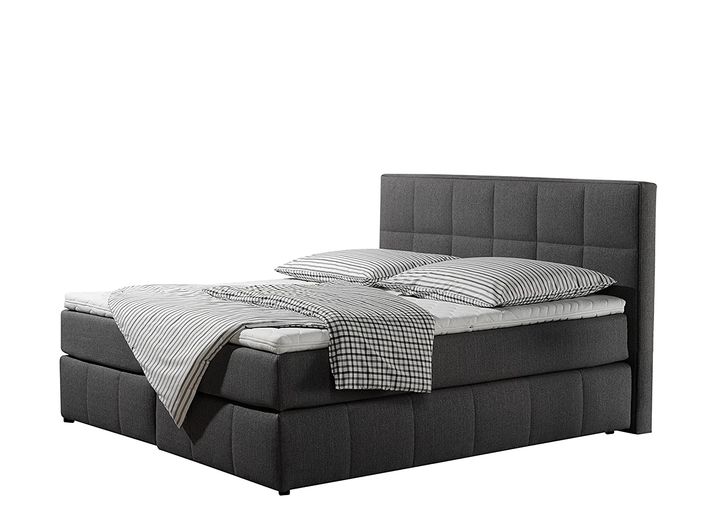 Maintal Betten 237353-3159 Box springbett Casano 180 x 200 cm, Strukturstoff anthrazit