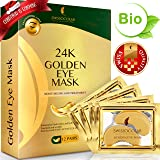 Under Eye Mask Gold Eye Mask Anti-Aging Hyaluronic Acid 24k Gold Eye Patches Under Eye Pads for Moisturizing & Reducing Dark Circles Puffiness Wrinkles (Color: Gold)