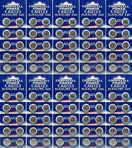 100 Pack Loopacell Lr44 Ag13 357 Button Cell Batteries