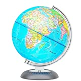 Illuminated World Globe for Kids with Stand – Built-in LED Light Illuminates for Night View – Colorful, Easy-Read Labels of Continents, Countries, Capitals & Natural Wonders, 8