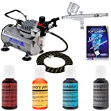 Pro Master Airbrush Cake Decorating Airbrushing System Kit with a 4 Color Chefmaster Food Coloring Set - G22 Gravity Feed Airbrush, Air Compressor, Guide Booklet - Decorate Cakes, Cupcakes, Cookies (Tamaño: 4-Color Kit with Compressor)