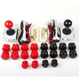 EG Starts 2 Player Arcade Game Kit Parts USB Pc Joystick for Mame Game DIY Zero Delay USB Encoder + 2x 5pin 8 Way stick + 20 Push Buttons Red + Black Kits Support Windows System & Raspberry pi