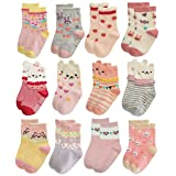 RATIVE Anti Slip Non Skid Crew Dress Socks With Grips For Baby Toddler Kids Little Girls (12-24 Months, 12 Designs/RG-82021) (Color: 12 Designs/Rg-82021, Tamaño: 12-24 Months)