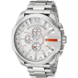 Diesel Men's DZ4328 Mega Chief Silver-Tone Stainless Steel Watch (Color: Silver, Tamaño: 59 mm x 51 mm)