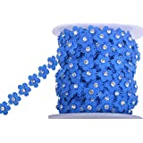 KAOYOO 10 Yards New Flower Shaped with Rhinestone Chain Sew On Trims Wedding Dress Beaded Trim (Color: Blue)
