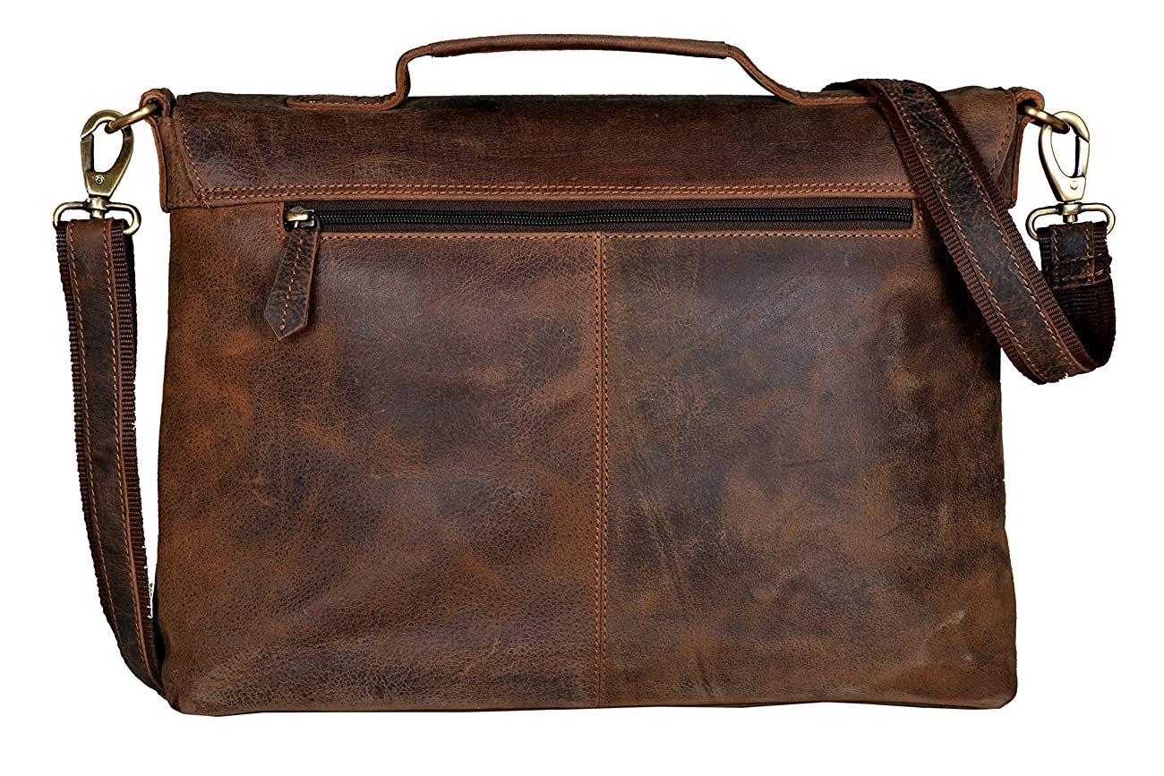 Handolederco Vintage Buffalo Leather Messenger Satchel Laptop Briefcase Men's Bag Crazy Vintage Leather Messenger Briefcase Bag 2