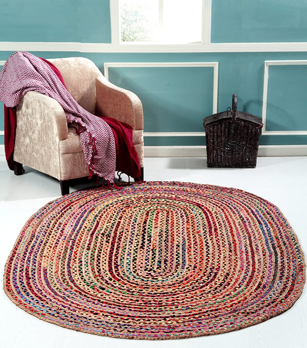 Hand Made - Braided Multicolor Chindi Rugs - Natural Jute & Cotton Rugs - 5 x 8 Oval Area Rugs - Boho Bohemian Area Rugs- Reversible Oval Area Rugs- Braided Chindi Cotton Jute Area Rugs By HILLFAIR