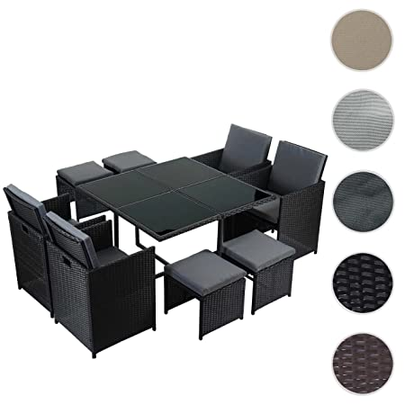 Poly-Rattan Garten-Garnitur Kreta, Lounge-Set Sitzgruppe ~ 4 Stuhle schwarz, Kissen grau