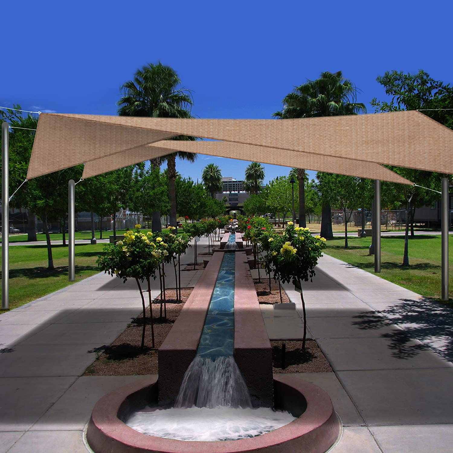 Backyard Awning Shade : Phoenix Oversized 185ft Square Sun Shade Sail  Desert Sand  Plain