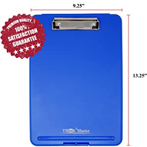 Storage Clipboard Plastic Heavy Duty Compartment Holds 150 Letter Sized Paper