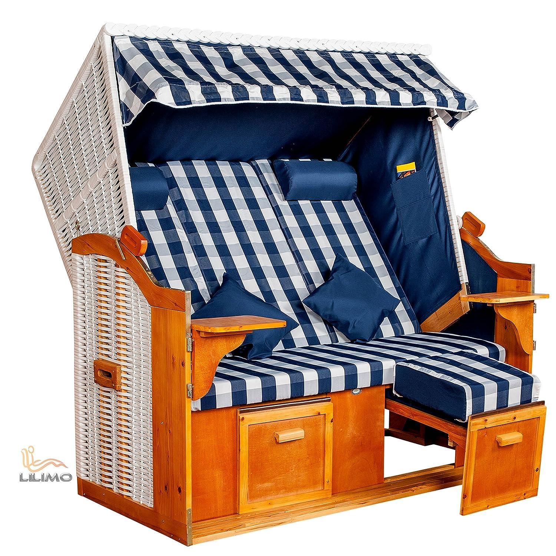 Strandkorb Ostsee BLB XXL, Bezug blau-weiß kariert fertig montiert, LILIMO ® bestellen